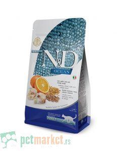 N&D Ocean: Hrana za odrasle mačke, Pomorandža i Bakalar