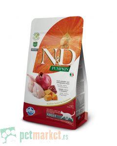 N&D Grain Free: Hrana za odrasle mačke, Bundeva & Prepelica