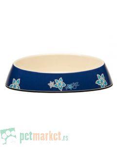 Rogz: Melamin posuda za mace Blue Floral, 200 ml