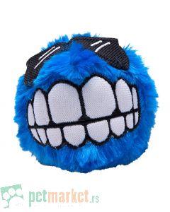 Rogz: Plišana loptica sa zubima Fluffy Grinz Ball, plava