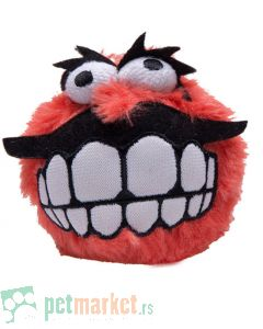 Rogz: Plišana loptica sa zubima Fluffy Grinz Ball, crvena