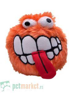 Rogz: Plišana loptica sa zubima Fluffy Grinz Ball, narandžasta