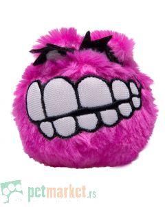 Rogz: Plišana loptica sa zubima Fluffy Grinz Ball, pink