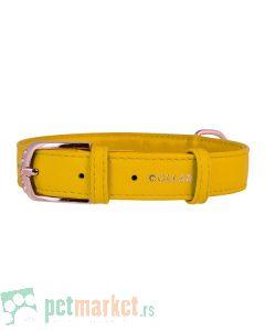 Collar: Kožna ogrlica Glamour Fashion, žuta