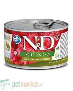 N&D Grain Free: Vlažna hrana za pse sa problematičnom kožom Mini Skin and Coat, Kinoa i Pačetina