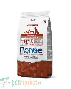 Monge: Hrana za štence Speciality All Breeds Puppy and Junior, Jagnjetina i Pirinač