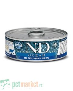 N&D Grain Free: Vlažna hrana za mačke Ocean, Brancin i Lignja