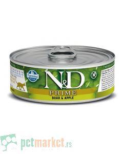 N&D Grain Free: Vlažna hrana za mačke Prime, Jabuka i Divlja svinja