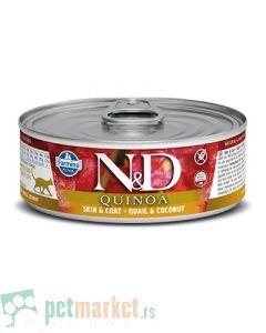 N&D Grain Free: Vlažna hrana za mačke sa problematičnom kožom Skin & Coat, Kinoa i Prepelica