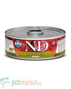 N&D Grain Free: Vlažna hrana za mačke sa problemima urinarnog trakta Urinary, Kinoa i Pačetina, 6 x 80 gr (170din/kom)