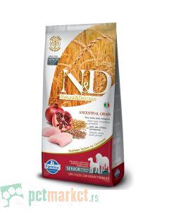 N&D Low Grain: Medium/Maxi Senior, Piletina & Nar, 12 kg
