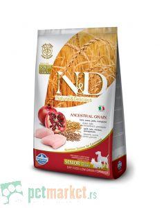 N&D Low Grain: Mini/Medium Senior, Piletina & Nar