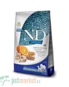 N&D Ocean: Hrana za pse Medium/Maxi Adult, Pomorandža i Bakalar