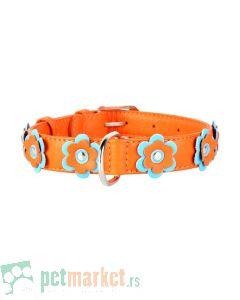 Collar: Kožna ogrlica Glamour Flower, narandžasta 30-39 cm