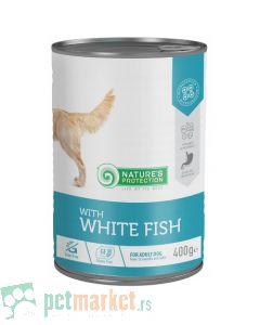 Nature's Protection: Vlažna hrana za odrasle pse Adult Sensibile, Bela Riba, 400 gr