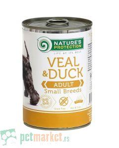 Nature's Protection: Vlažna hrana za odrasle pse Adult Small Breeds, Teletina i Pačetina, 400 gr