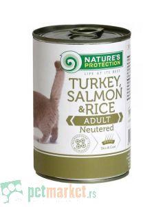 Nature's Protection: Vlažna hrana za sterilisane mačke Neuterd,Ćuretina, Losos i Pirinač, 400 gr