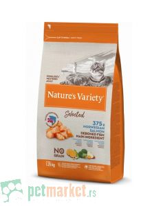 Nature's Variety: Hrana za odrasle mačke Selected, Norveški Losos, 1.25 kg