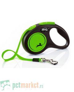 Flexi: Povodac New Neon Tape Green