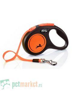 Flexi: Povodac New Neon Tape Orange