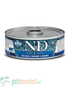 N&D Grain Free: Vlažna hrana za mačke Ocean, Brancin i Sardina