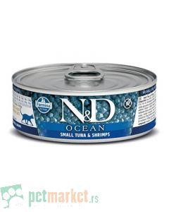 N&D Grain Free: Vlažna hrana za mačke Ocean, Tuna i Škampi,