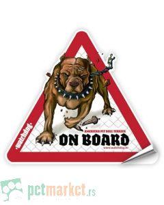 Watchdog: Nalepnica za auto Pit Bull Smeđi
