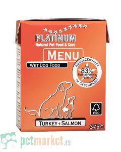 Platinum: Vlažna hrana za pse Dog Menu Ćuretina i Losos, 375 gr