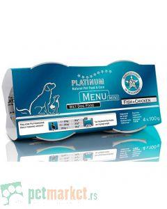 Platinum: Vlažna hrana za pse Mini Menu Piletina i Riba, 4 x 100 gr