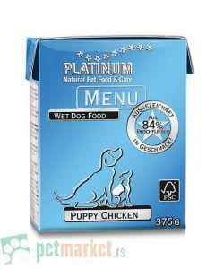 Platinum: Vlažna hrana za štence Puppy Menu Piletina, 375 gr