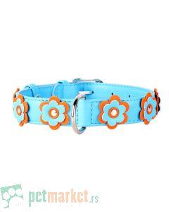 Collar: Kožna ogrlica Glamour Flower, plava 30-39 cm
