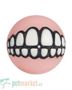 Rogz: Igračka za štence Lopta sa zubima Grinz Ball, svetlo roza