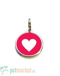 Pet Hardvare: Kružni privezak sa srcem, crveni