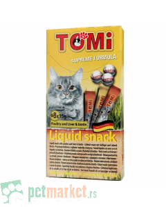 Tomi: Tečna poslastica za mace Snacks Liquid, 8 kom
