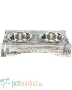 Trixie: Set činija na drvenom postolju Wooden Bowl Set