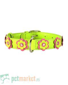 Collar: Kožna ogrlica Glamour Flower, zelena 30-39 cm